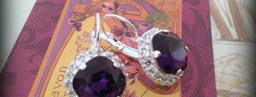 Elise Earrings in Purple Velvet