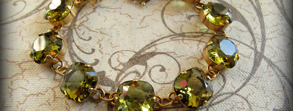 Swarovski Crystal Bracelet Peridot Gold