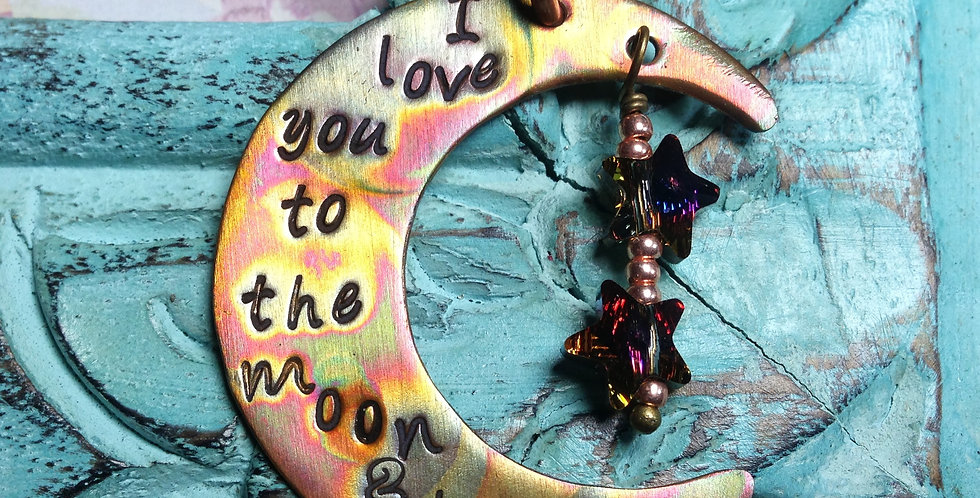 Love You to the Moon - Copper w/leather
