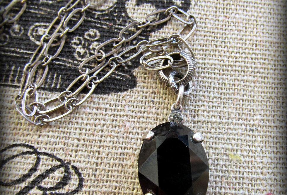 Jet Oval Crystal Necklace