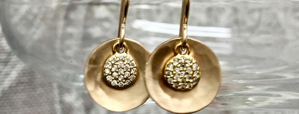Pave and Gold Earrings