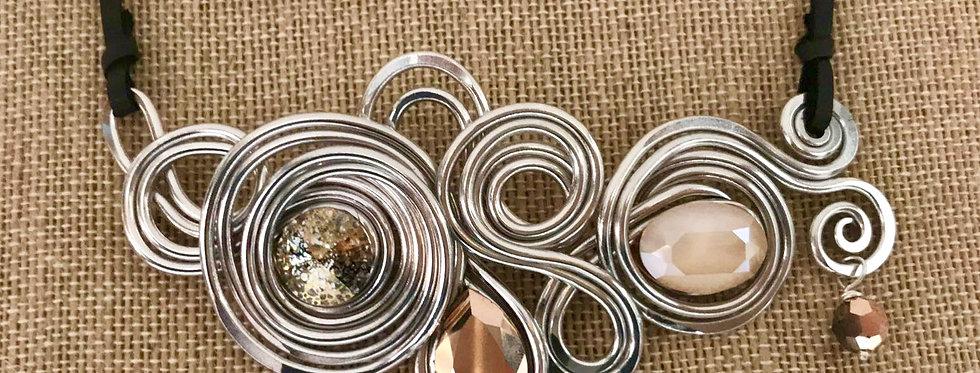 Swarovski Statement Necklace Aluminum Nude