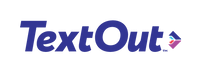 TextOut Logo in dark blue with a four colored arrow pointing right