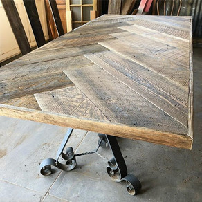 Herringbone Tables replace typical farm house tables.