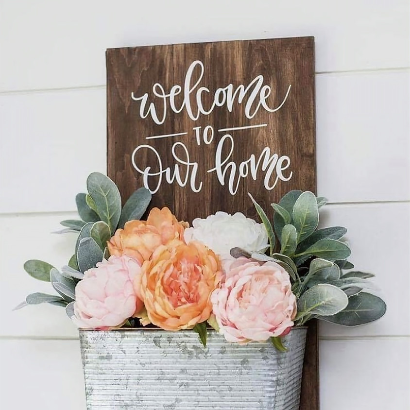 Welcome Sign with Flower Planter