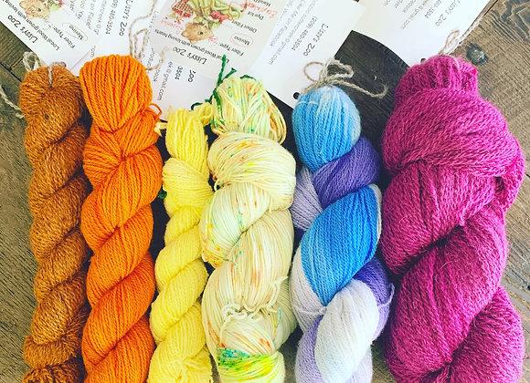 Hand Dyed & Spun Wool Yarn