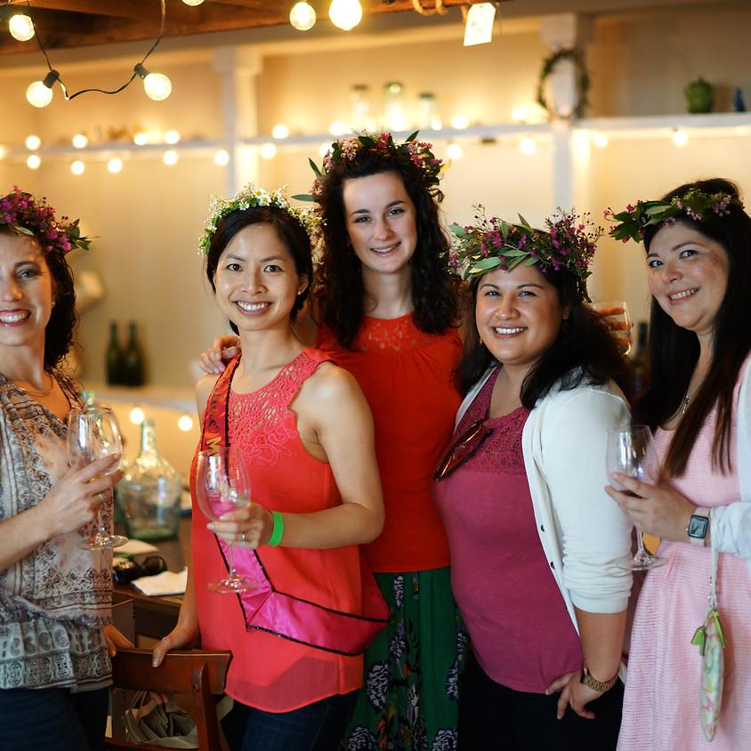 Wildflower + Wine Flower Crown Class