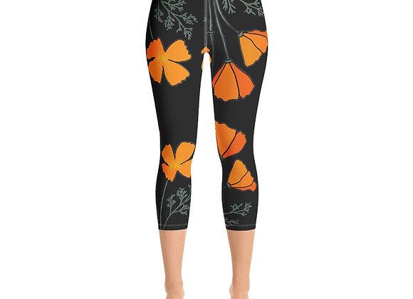 Black Poppy - Yoga Capri Leggings