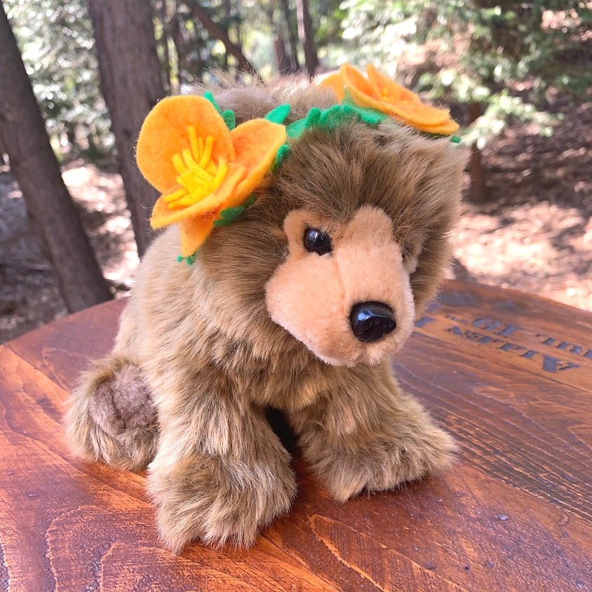 Felt Poppy Crown for Goldie the grizzly