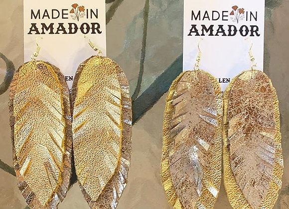 Leather & Feather Earrings