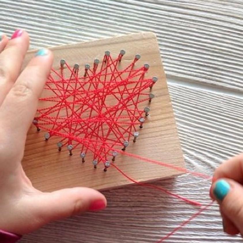 Mini Makers: February Heart Nail-String Art