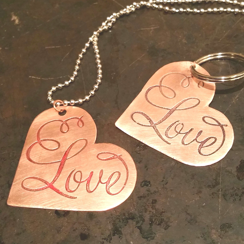 Etched Copper Necklace/Keychain