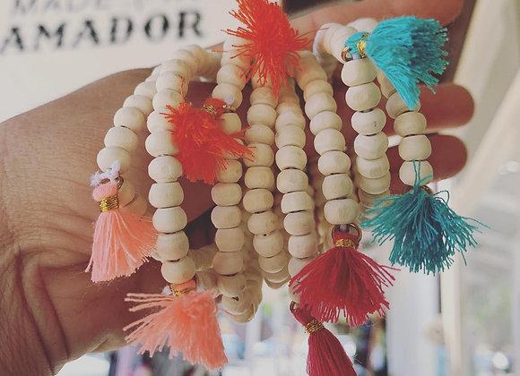 Wood Bead Bracelet with Tassels