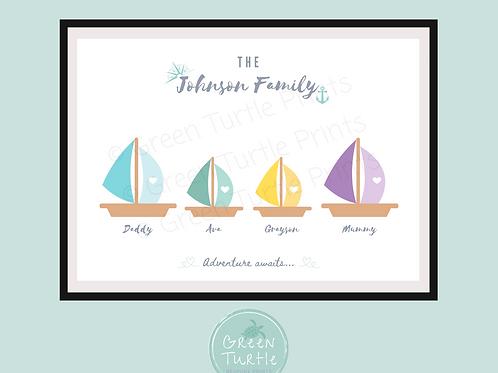 Sail Boat Family Print