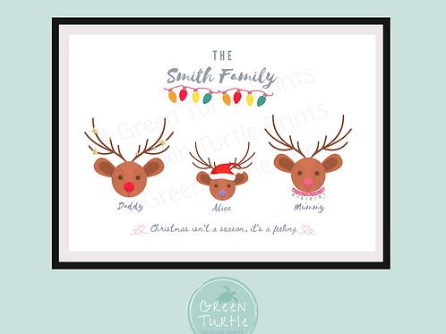 Reindeer Family Christmas Print