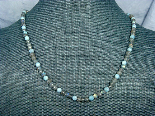 Labradorite and Blue Chalcedony Strand Necklace