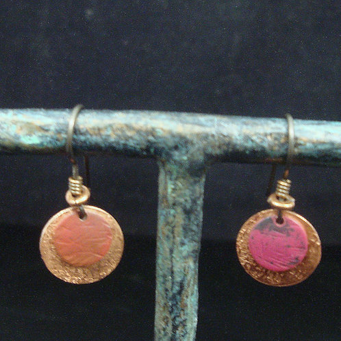 Flame Painted, Hand Forged and Textured Copper Earrings