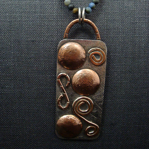 Mixed Metal Sterling and Copper Pendant with Patina