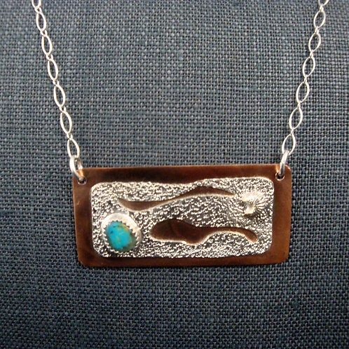 Copper, Sterling Silver and Turquoise Necklace