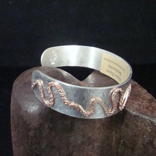 Sterling Silver Cuff with Copper Design