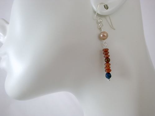 Vintage Pearl, Apatite, Garnet, and Sunstone Dangle Earrings, Vintage Pearl Earr