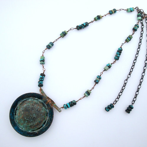 Patinated Copper Rustic Pendant Necklace With Hubei Turquoise Beads