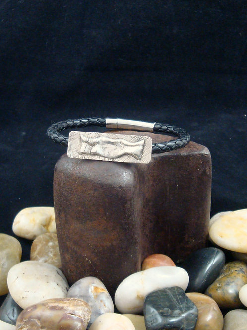 Unisex Black Leather Bracelet with Hand Forged Sterling Focal