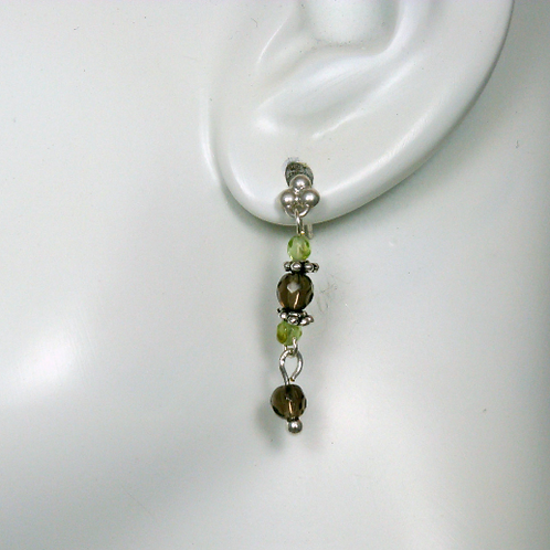 Smoky Quartz and Peridot Sterling Silver Post Dangle Earrings