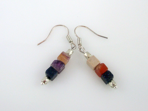 Modern Minimalist Multi Stone Cube Bead Dangle Earrings