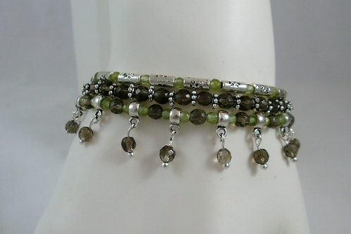 Set of Three Peridot and Smoky Quartz Stacker Bracelets, Peridot Bracelet, Smoky
