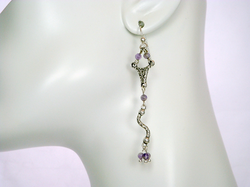 Boho Amethyst Long Dangle Earrings, Boho Earrings, Amethyst Earrings