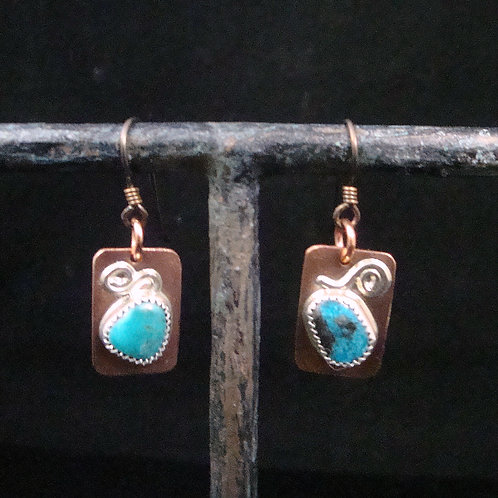 Copper Earrings with Sterling Silver accent and Turquoise
