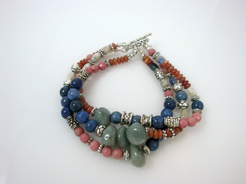 Triple Strand Multi Stone Bracelet, Multi Color Bracelet, Natural Stone Bracelet