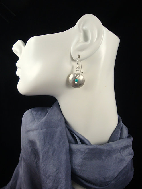 Sterling Silver Dapped Earrings with Green Blue Turquoise Beads