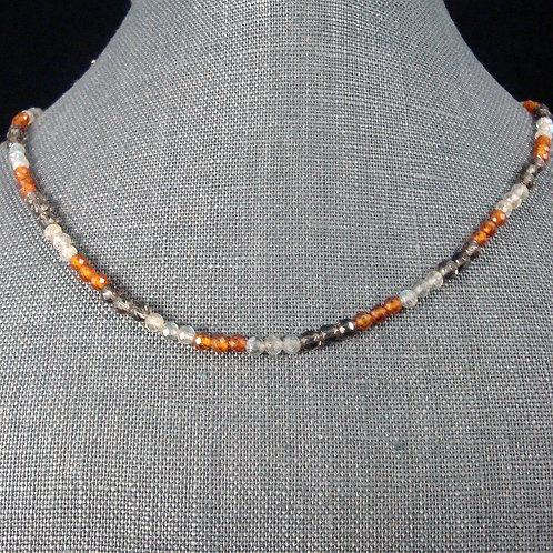 Carnelian, Smoky Quartz, and Labradorite Strand Necklace