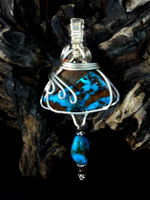 Artisan Wrapped Turquoise Pendant
