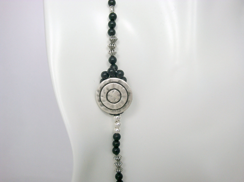 Matte Onyx With Pewter Accent Button and Bead Lariat Necklace, Black Lariat, Bla