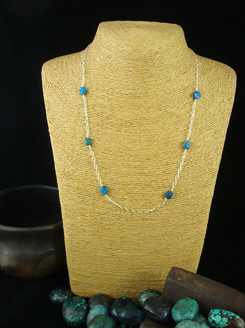 Chrysocolla and Sterling Chain Necklace
