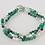 Thumbnail: Green Fire Agate, Freshwater Pearl, Pewter Bead Bracelet, Green Bracelet, Fire A