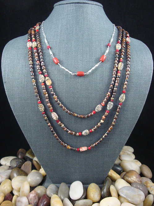 Leopardskin Jasper, Dyed Coral, Chocolate Hematite, and Bone Beaded Necklace
