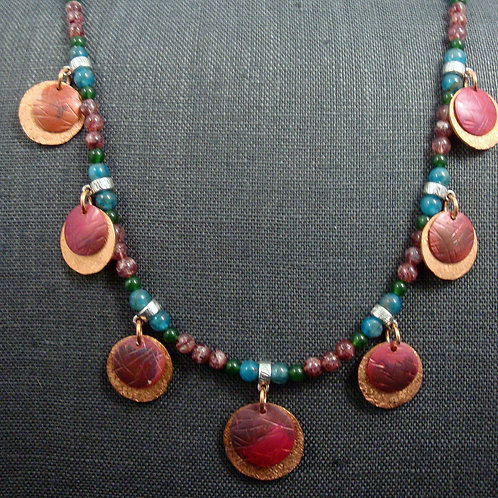 Hand Textured, Forged, and Flame Painted Copper Beaded Necklace