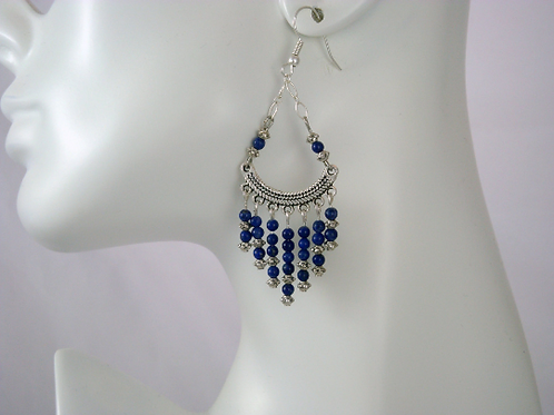 Boho Lapis Chandelier Earrings, Lapis Earrings, Blue Earrings, Blue Bead Earring