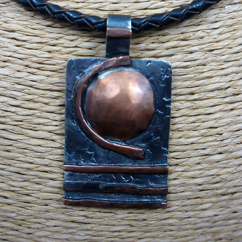 Mixed Metal Rustic Modern Sterling and Copper Pendant