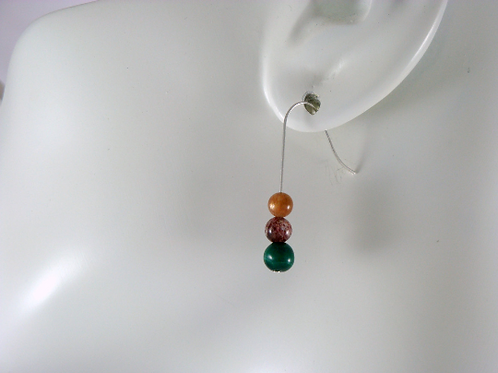Mixed Stone Malachite, Sunstone, and Lepidocrosite Sterling Earrings