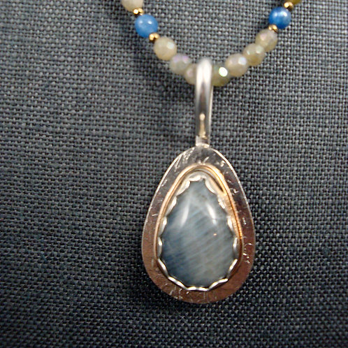 Sterling Silver and Labradorite Pendant with Bronze accent