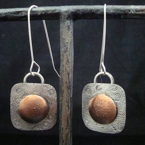 Mixed Metal Sterling and Copper Earrings