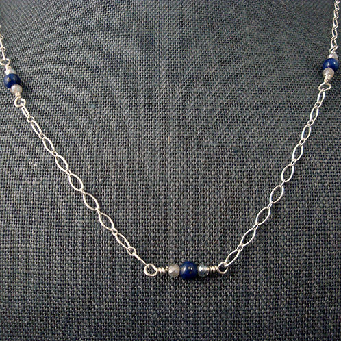 Sterling Silver and Lapis and Frosted Labradorite necklace
