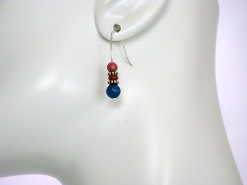 Dumortierite, Rhodonite, and Sunstone Earrings, Blue Earrings, Pink Earrings, Mi