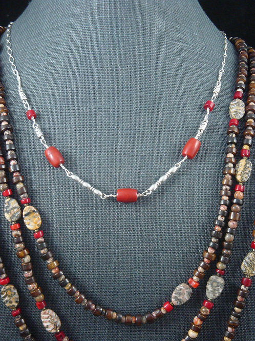 Sterling Silver, Dyed Coral, and Pewter Choker Necklace