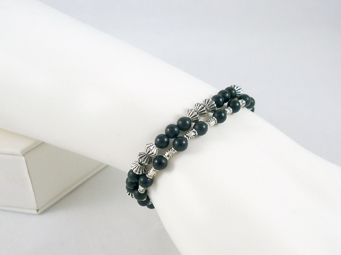 Matte Onyx and Pewter Stacker Strand Bracelet Set, Onyx Stacker Bracelet, Black